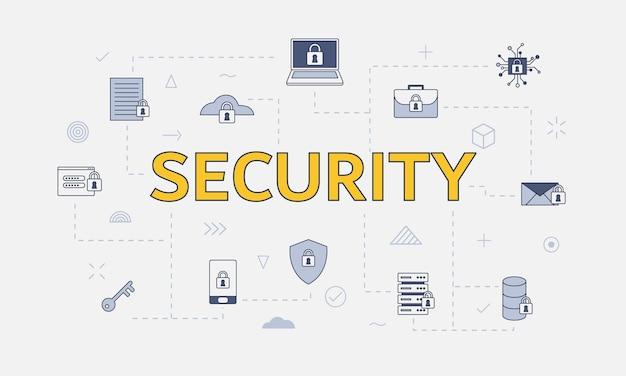 Концепция безопасности в интернете с набором иконок с большим словом или текстом в центре