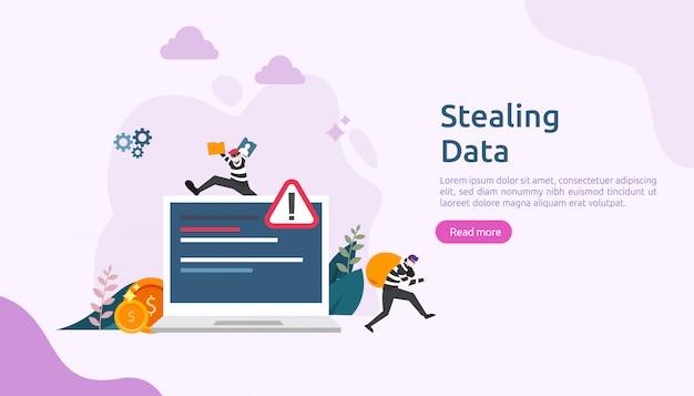 小さな人格のインターネットセキュリティの概念。パスワードフィッシング攻撃。個人データを盗む。 webランディングページ、バナー、プレゼンテーション、ソーシャル、および印刷メディアテンプレート。図