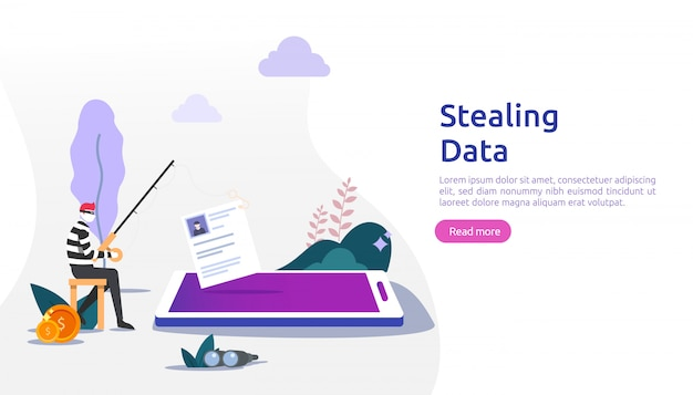 Internet security concept with tiny people character. password phishing attack. stealing personal data. web landing page, banner, presentation, social, and print media template. illustration