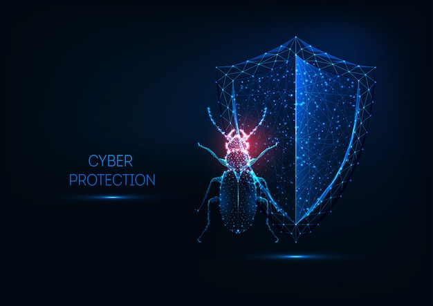 Internet security, cyber protection concept with futuristic glowing low polygonal bug and shield.