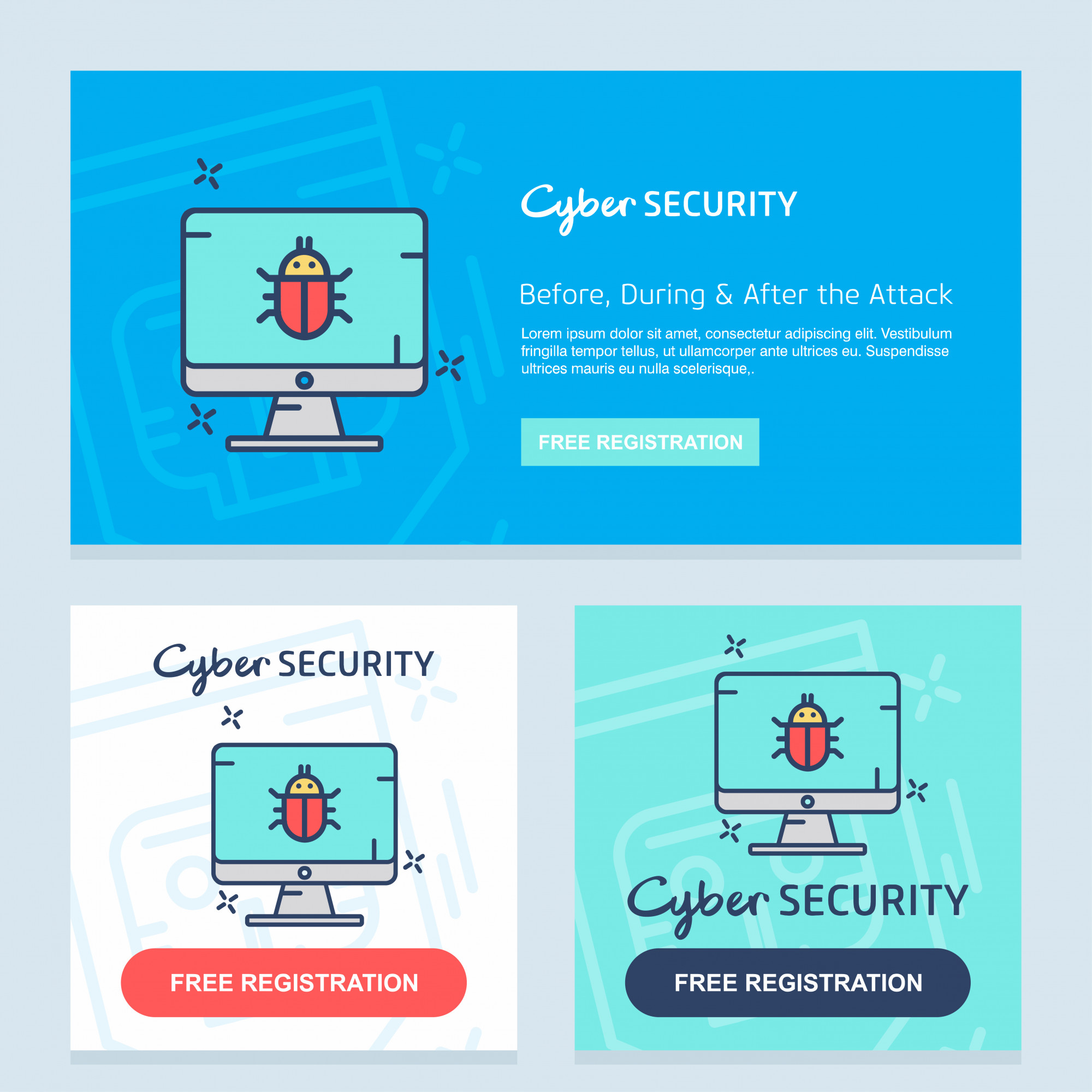 Internet security design and typography vector