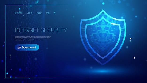 Интернет-безопасность для компьютера, безопасность vpn, концепция кибер-щита, иллюстрация безопасности данных