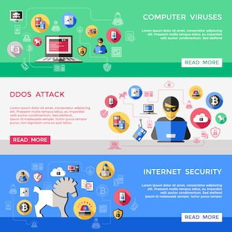 Set di banner orizzontale di sicurezza internet