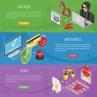 Горизонтальные баннеры интернет-безопасности с изометрическими плоскими значками, такими как хакер, вирус, антивирус и спам. векторные иллюстрации.