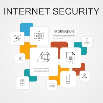 Internet security infographic 10 line icons template.cyber security, fingerprint scanner, data encryption, password simple icons