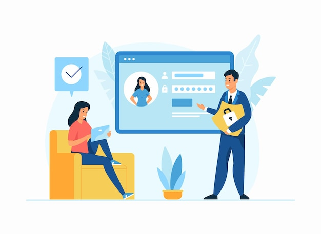 Internet security, personal data protection flat illustration. male cartoon character holding shield advising to keep safe personal information to woman. female character login to social media account