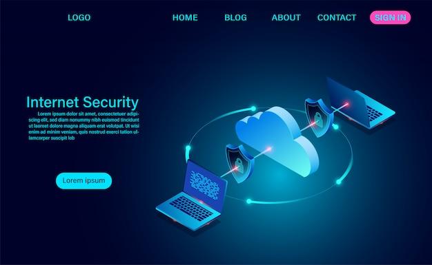 Интернет-безопасность с передачей данных. защищает данные от кражи данных и хакерских атак. изометрические плоский дизайн. векторная иллюстрация