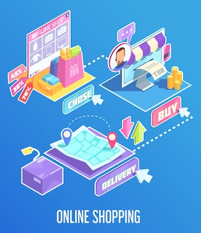 Internet shopping isometric composition