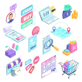 Internet shopping isometric set