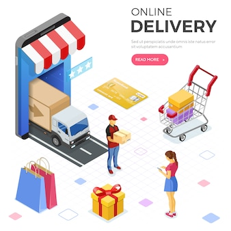 Internet shopping online delivery isometric  banner