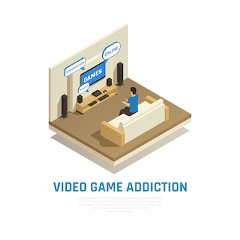 Internet smartphone gadget addiction isometric composition with view of living room with person playing video games vector illustration