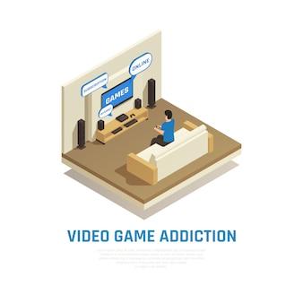 La composizione isometrica in dipendenza dell'aggeggio dello smartphone di internet con la vista del salone con la persona che gioca i video giochi vector l'illustrazione
