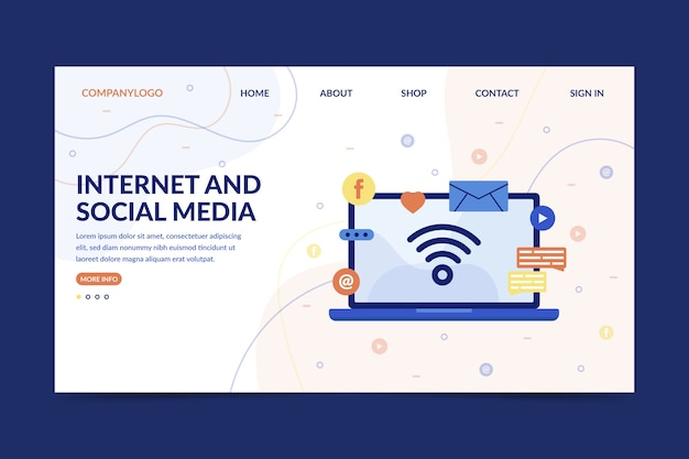 Internet and social media landing page with laptop