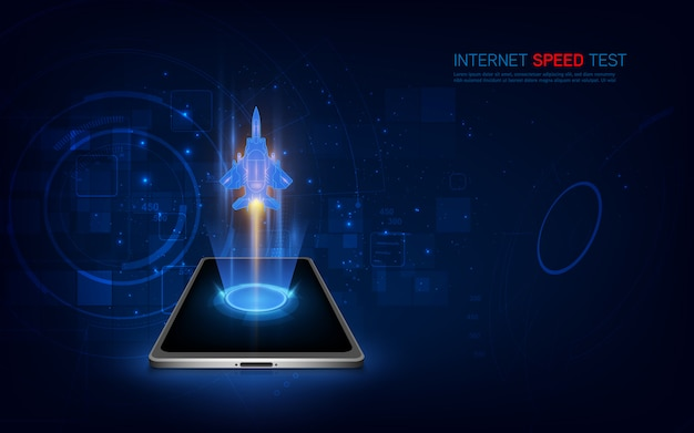 Internet speed test smartphone interface. wifi, mobile internet booster screen.