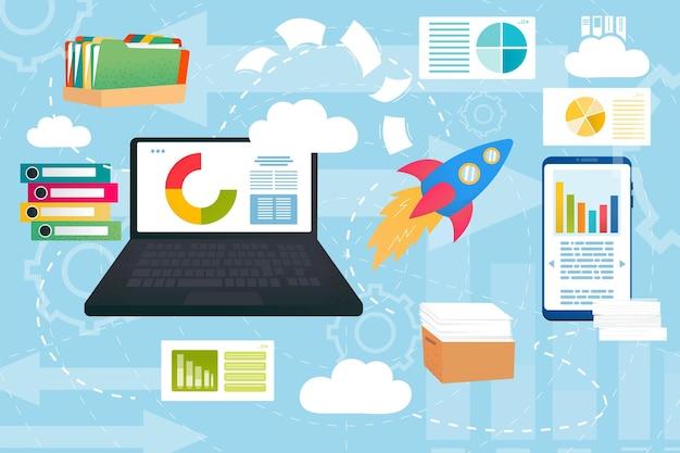 Интернет-хранилище, сетевые технологии для бизнеса, векторные иллюстрации. рабочее соединение в облачной системе, ноутбук с онлайн-сервисом. документ, информация, цифровые данные в компьютере, смартфоне.