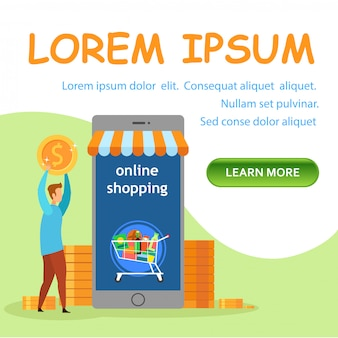 Internet store flat landing page vector template