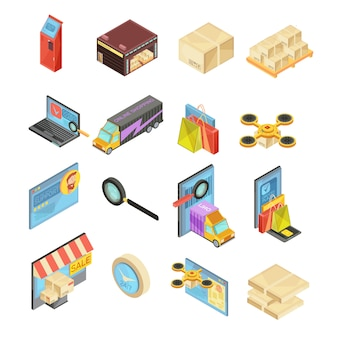 Internet store isometric set with search of goods, warehouse, delivery tracking, online payment, package isolated vector illustration
