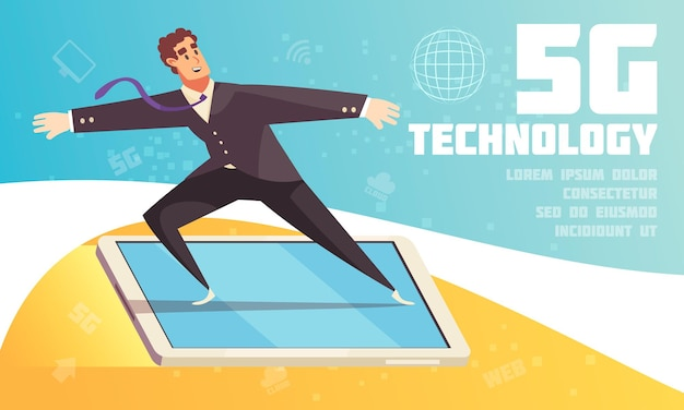 Интернет-технологии горизонтальная иллюстрация с мультяшным мужским персонажем, стоящим на экране смартфона, летящим над миром