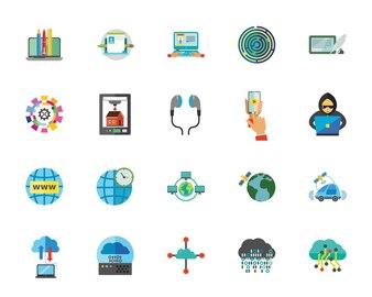 Internet technology icon set