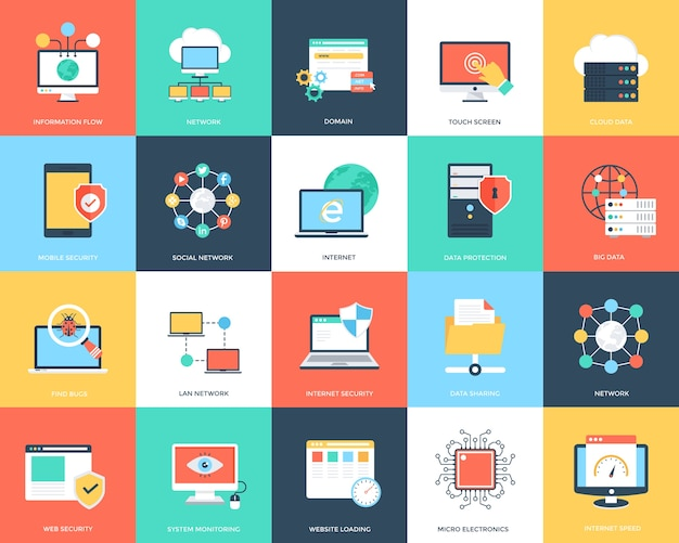 Internet technology and security flat icons set