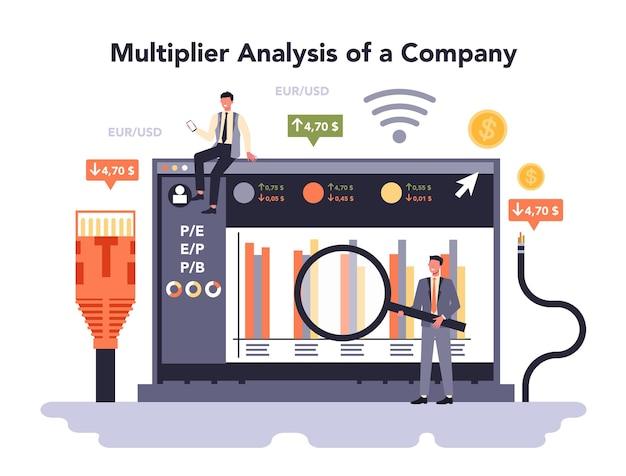 インターネット電気通信サービスのオンラインサービスまたはプラットフォーム。ワイヤレステクノロジー業界。現代のグローバルコミュニケーション。会社の乗数分析。ベクトルイラスト