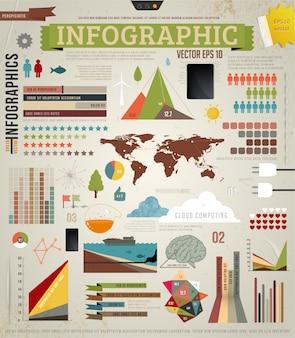 Internet template infochart bar infographic