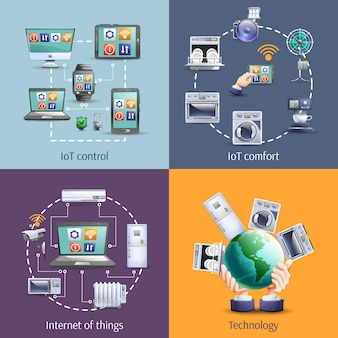 Internet of things 4 flat icons