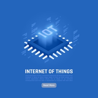 Internet of things abstract blue composition with central processing unit