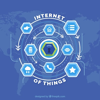 Internet of things background with hexagons