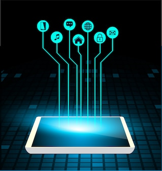 Internet of things circuit cyber technology on tablet