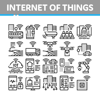 Internet of things collection icons set