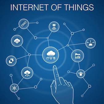 Internet of things concept, blue background. dashboard, cloud computing, smart assistant, synchronization icons
