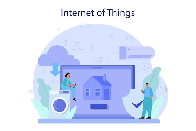 Internet of things concept illustration. idea of cloud, technology and home. modern global technology. connection between devices and house appliances.