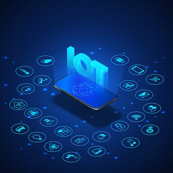 Internet of things concept. iot isometric banner. digital global ecosystem. monitoring and control by smartphone. blue technology bacoground. illustration