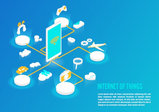 Internet of things concept in isometric design