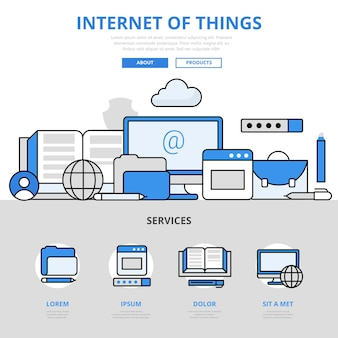 Internet of things digital electronics smart device sensor network connection concept flat line style.