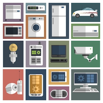 Internet things icons set flat