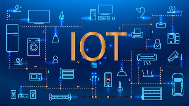 Internet of things (iot), devices and connectivity concepts on a network