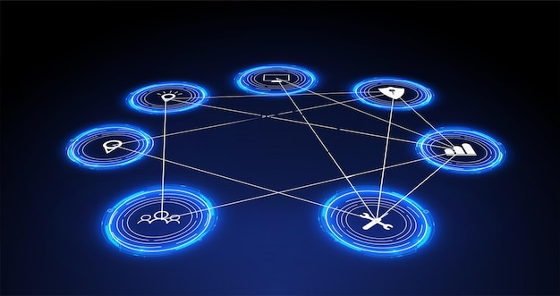 Internet of things (iot) and networking concept for connected devices. spider web of network connections with on a futuristic blue background. digital design concept. iot hologram