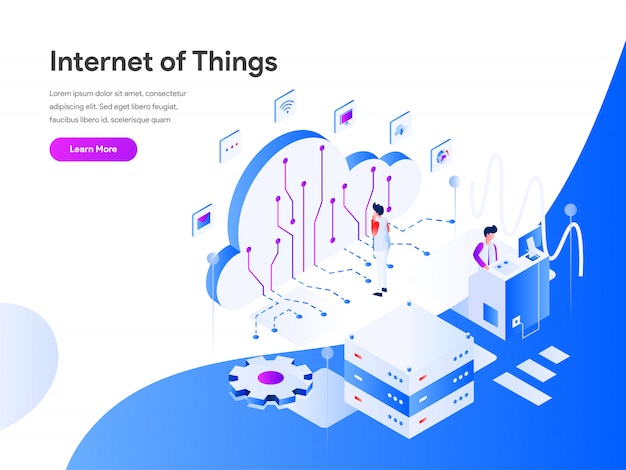 Internet of things isometric web banner