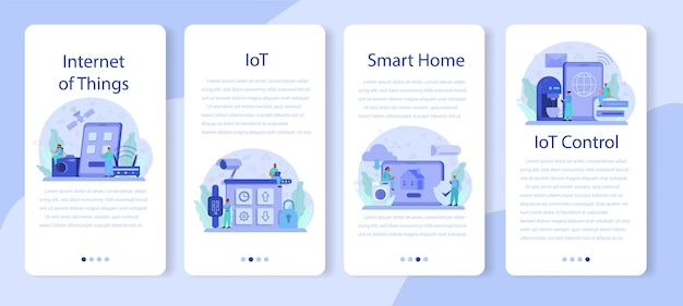 Internet of things mobile application banner set.