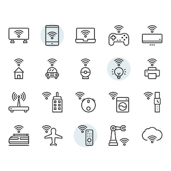 Internet of things related thin line icon set