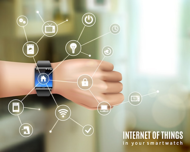 Internet of things in smart wrist multimedia watch gadget on hand