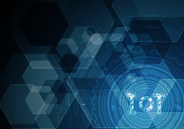 Internet of things technology abstract circle hexagonal background