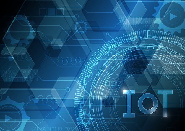 Internet of things technology abstract circuit circle hexagonal background