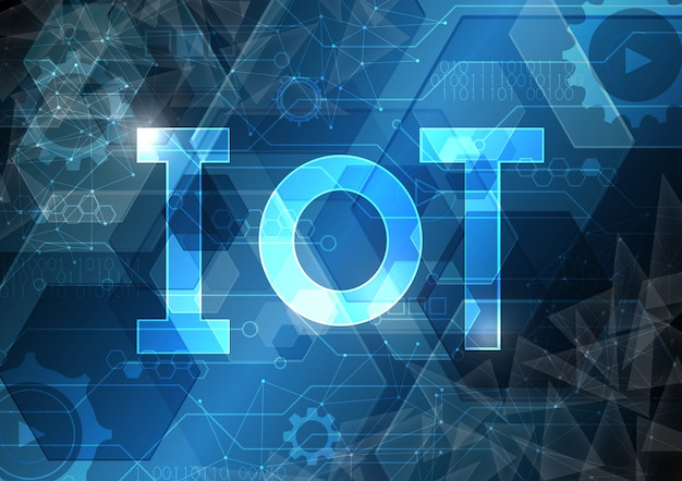 Internet of things technology abstract circuit hexagonal background