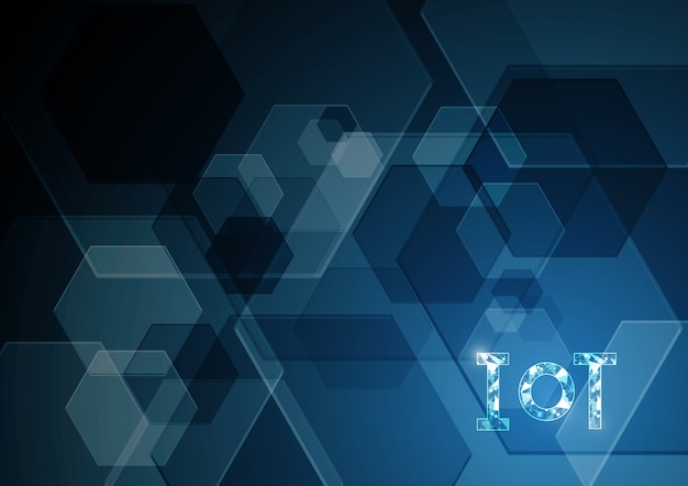 Internet of things technology abstract hexagonal background