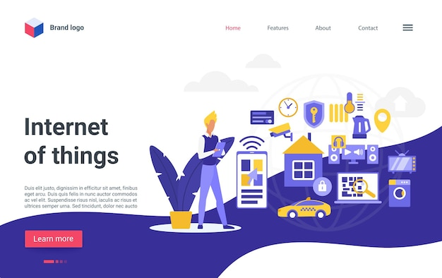Internet of things technology landing page smart home control system iot connection.