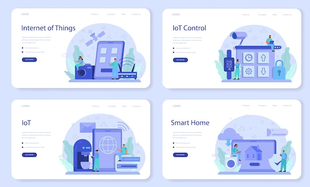 Internet of things web banner or landing page set