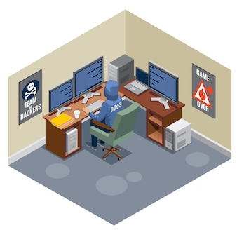 Internet threats isometric composition